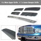 Fits 02-05 Dodge Ram Aluminum Main Upper Grille + Lower Bumper Grille Chrome