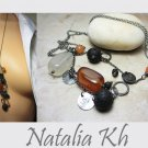 925 Sterling Silver Necklace Oxidized Necklace Carnelian and Lava Rock Necklace