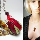 artisan lampwork necklace red rose bud necklace ruby necklace dark red necklace