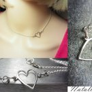 925 Sterling Silver Heart Necklace Side Heart Choker Layering Necklace