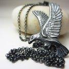 925 Sterling Silver Large Eagle Necklace Bird Necklace Bird Boho Necklace