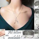 925 Sterling Silver Initial Necklace Name Pendant Letter Necklace Large Letter Pendant Monogram