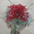 Red/White Beaded Wedding Bouquet