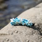 Handmade Sky Blue Flower Banana Hair Clip Barrette Floral Hair Hair Tie Medium size for girls