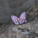 Handmade Purple Crystal Butterfly Hair Clip Flower Clip Floral Barrette Fabric Hair Accessories