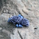Handmade Satin Blue Rose Flower Hair Clip Barrette Floral Hair Hair Tie Medium size for girls