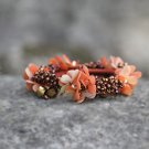 Handmade Orange Flower Hair Elastic fabric hair Tie Crystal Classic Floral Bracelet Ponytail holder