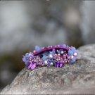Handmade Purple Flower Hair Elastic fabric hair Tie Crystal Classic Floral Bracelet Ponytail holder