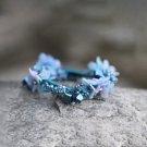 Handmade Blue Flower Hair Elastic fabric hair Tie Crystal Classic Floral Bracelet Ponytail holder
