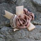 Handmade Satin Rose Flower Hair Elastic fabric hair Tie Classic Floral Ribbon Ponytail holder