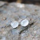 White Oval Agate Jade Sterling Silver Earrings Studs Natural Earrings Studs Gemstone Nature Earrings