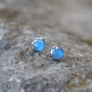 Sea Blue Agate Jade Sterling Silver Earrings Studs Natural Earrings Studs Gemstone Nature Earrings