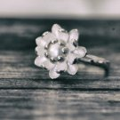 Natural Pearl Sterling Silver Lotus Flower Adjustable Ring Nature Ring Floral Botanical Ring for her