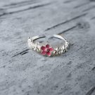 Dainty Pink blossom Flower 925 Sterling Silver Ring Thin Adjustable Elegant Nature Botanical Ring