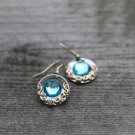 Boho Earrings Round Baroque iridescent Blue Beach Earrings Retro Tropical Dangle Crystal Earrings