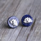 Lapis Lazuli Lotus Flower Earrings Sterling Silver Nature Earrings studs Natural Stone Earrings