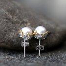 Freshwater Pearl Earrings Sterling Silver Retro Earrings Studs White Gold Bridesmaid Earrings