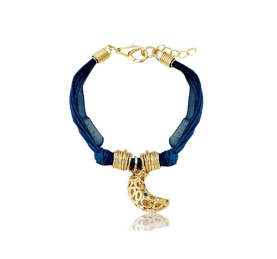 Crescent Moon Bracelet 3D three dimensional Wrist Chain Moon Phase Jewelry Bracelet Golden Jewelry