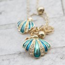 Sea Shell Crystal Necklace Turquoise Exotic Ocean Beach Jewelry for Sea Lover Turquoise Pendant