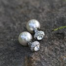 Crystal Pearl Earrings Studs Double-sided Ball Earrings Elegant Classic Earrings for Her