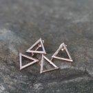 Golden Triangle Dangle Earrings Studs Simple Geometric Earrings Dainty Earrings
