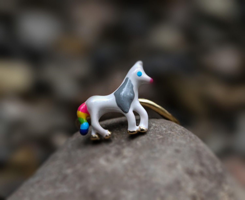 Horse Animal Ring Adjustable Unicorn Ring Minimal Sterling Silver Enamel Ring for Her