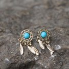 Vintage Style Turquoise Marble Earrings Studs Natural Stone Retro Earrings White Marble Studs