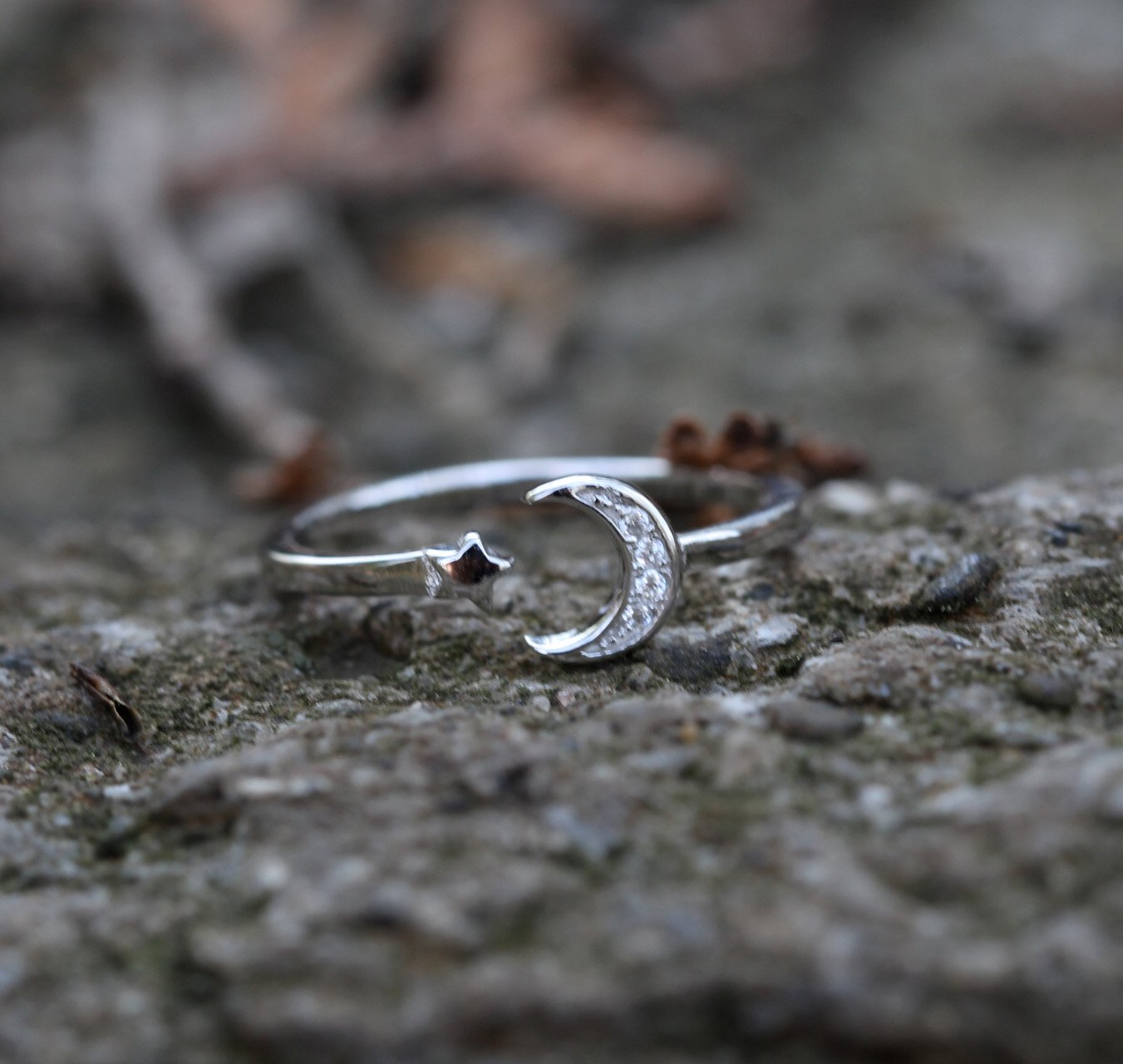 Sterling Silver Crescent Moon Ring Crystal Dainty Ring Adjustable Celestial Cute Ring