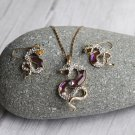 Light Purple Dancing Snake Jewelry Set Necklace Bohemia Wild Animal Necklace Crystal Earrings