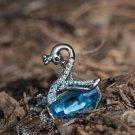 Sapphire Blue Crystal Swan Animal Pendant Swarovski Element Sky Blue Silver Elegant Necklace