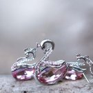 Swan Necklace Earrings Set Swarovski Pink Crystal Element Animal Sterling Silver Elegant Jewelry Set