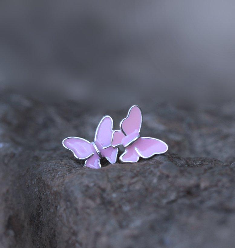 Pink Flying Butterfly Earrings Studs Dainty Animal Sterling Silver Minimal Minimalist Earrings