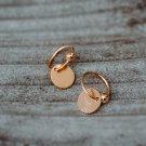 Golden Disc Hoop Earrings Gold Vermeil Earrings Round Dainty Minimalist Earrings Small Earrings