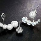 Sterling Silver Crystal Ear Jacket Pearl Bridal Earrings Ear Crawlers for Brides Bridesmaid Earrings