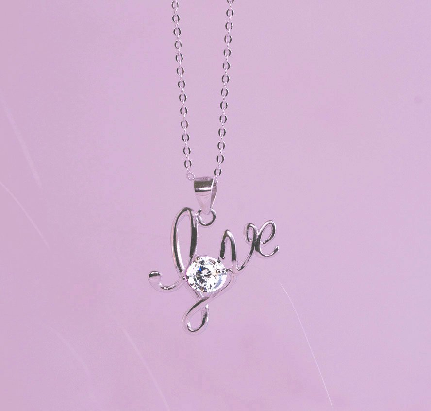 Love Letter Necklace 925 Sterling Silver Necklace Love Chain Crystal Pendant for her