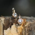 Yellow Gold CZ  Earrings Swarovski Crystal Element Earrings Dainty Elegant Earrings