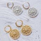 Gold Flower Baroque Earrings Vintage Dangle Drop Earrings Gold Disc Earrings