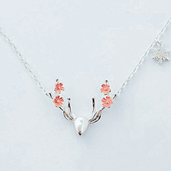 Christmas Deer Necklace Sterling Silver Antler Pendant Cute Red Flower Animal Necklace Charm Jewelry