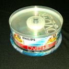 25 RW Philips DVD-R BLANK DISC 4.7GB 120 MIN 1-16x SPEED