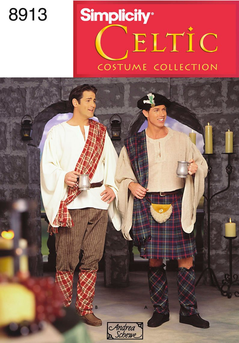 Simplicity Sewing Pattern 8913 Celtic Costume Collection Shirt,Skirt,Hat,Pouch,Pants