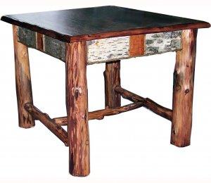 Rustic Adirondack Log Birch Bark Twig End Table