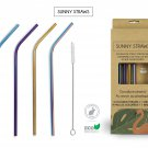 4 Different Color Stainless Steel Straw Set + Cotton Brush