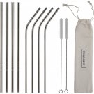 8 stainless steel straws + 2 brushes + 1 Linen Pouch - 2 different sizes of straws