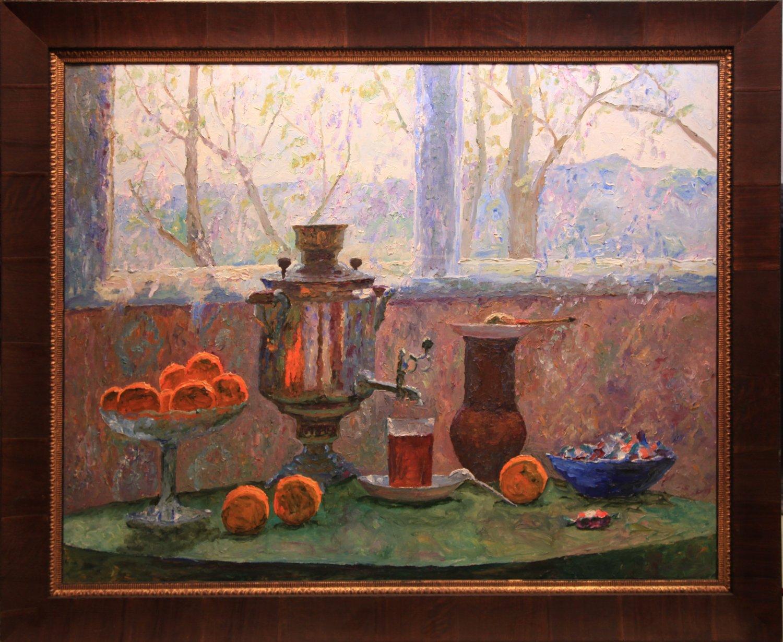 Spring. Tea on the terrace, 1983