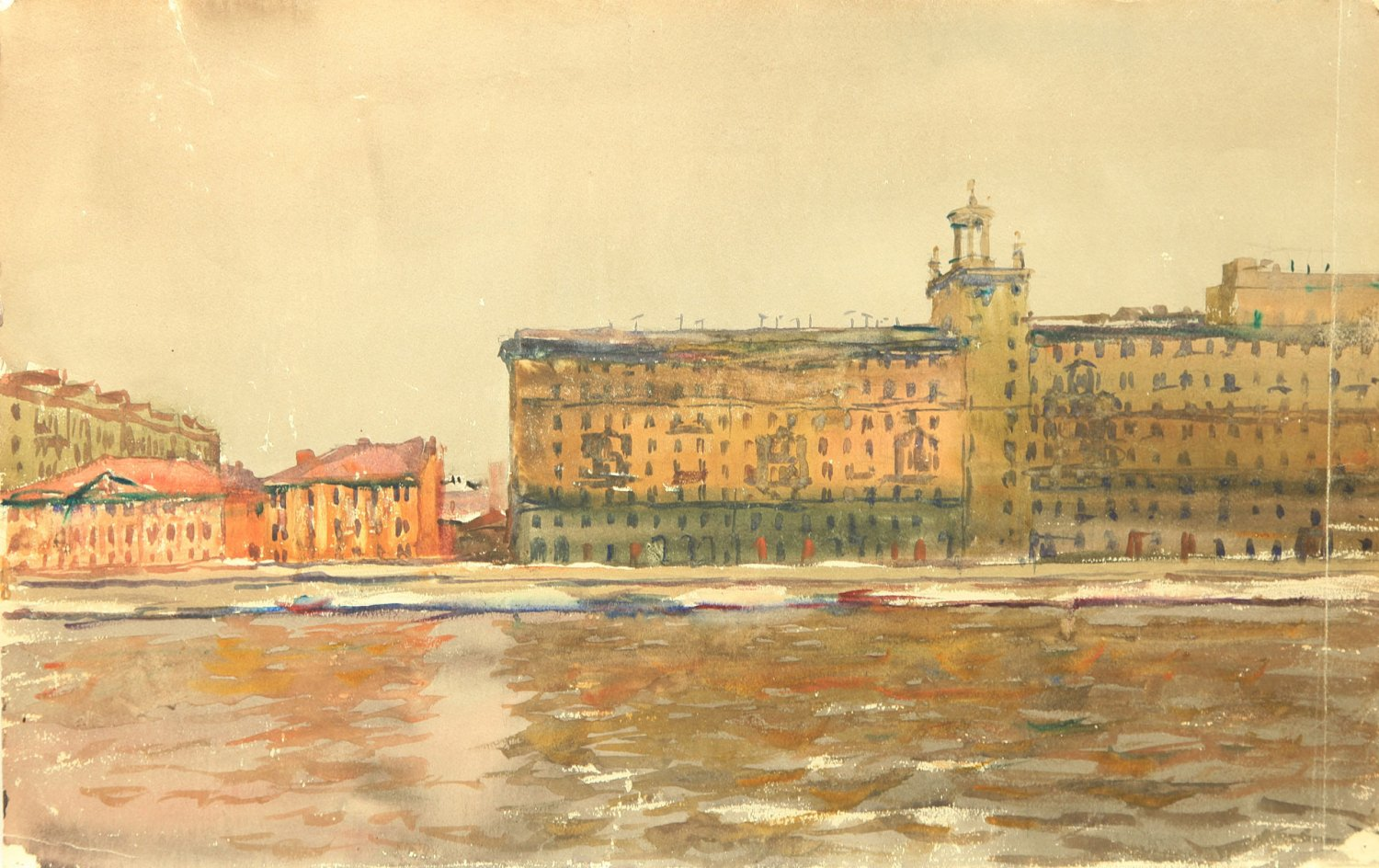 View of the Moscow river from Central Gorky Park, 1950