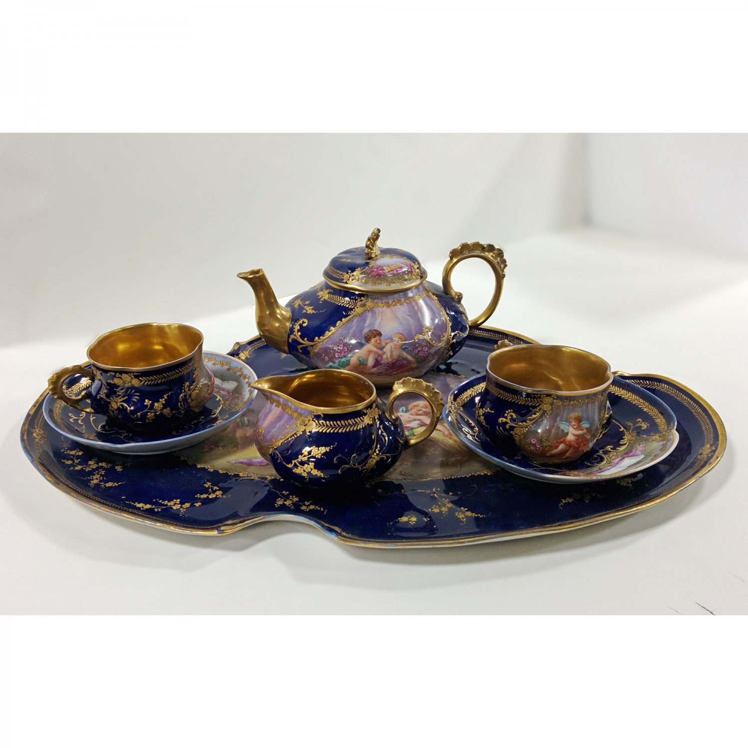 Blue porcelain set for two persons