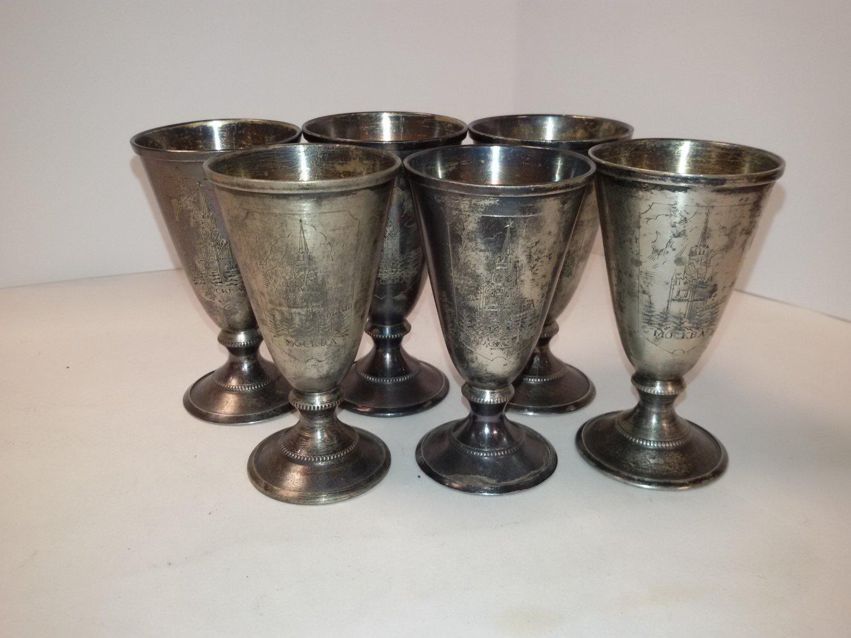 Set of 6 silver wine glasses