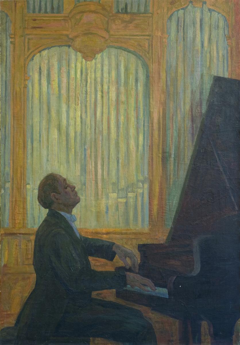 Friedman Karl. Svyatoslav Richter Playing. Oil Painting Russia 1970s