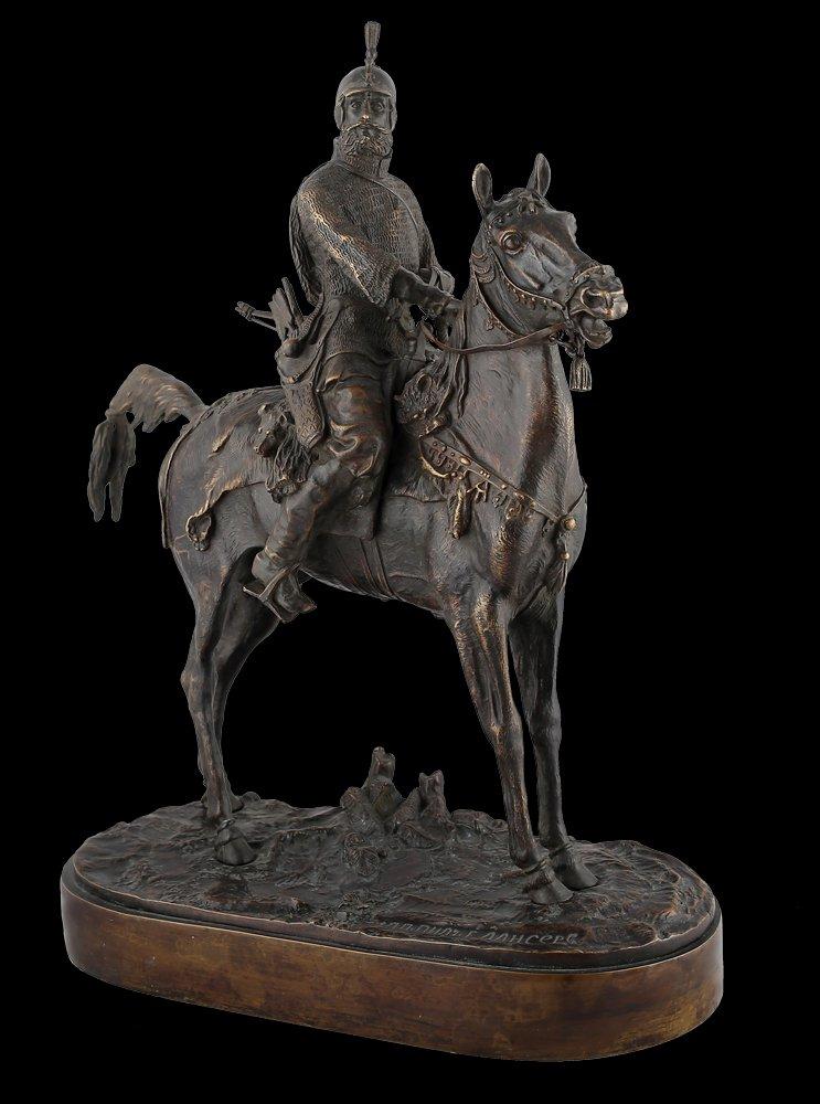Decor Art. Russia. Lancer Bronze Figurine. Oprichnik (Prince Vyazemsky).