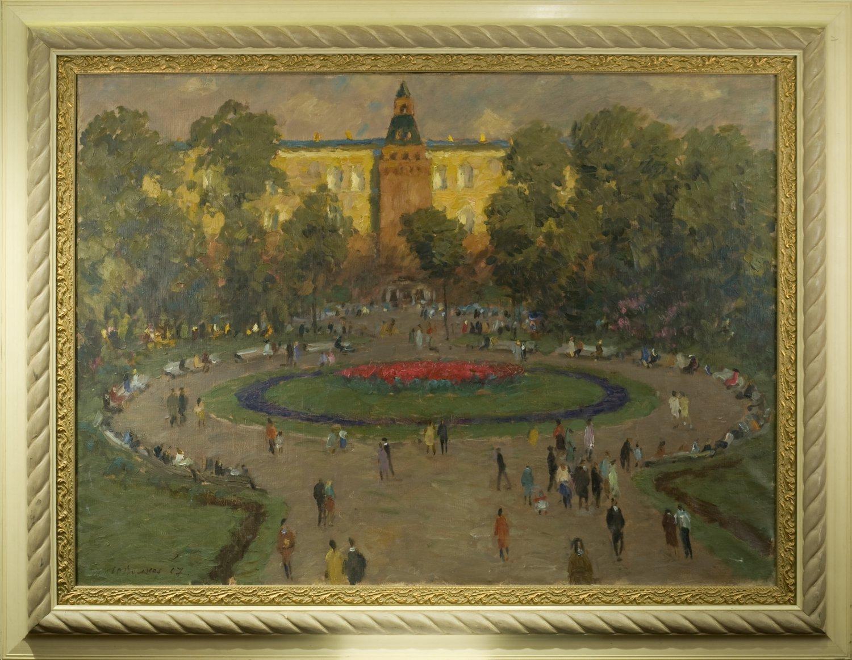 Volkov Yuri Alexandrovich. Garden. Summer evening. Russian Oil Painting 1967